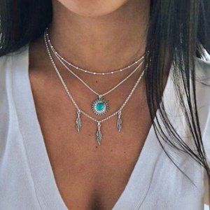Multi Layer Silver Necklace Feathers Turquoise Sun
